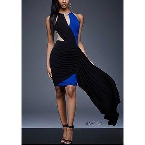 Black/Royal Form Fitting Contemporary Dress